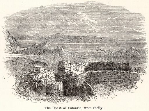 The Coast of Calabria, from Sicily. Illustration for The World As It Is by George Chisholm (Blackie, 1885).