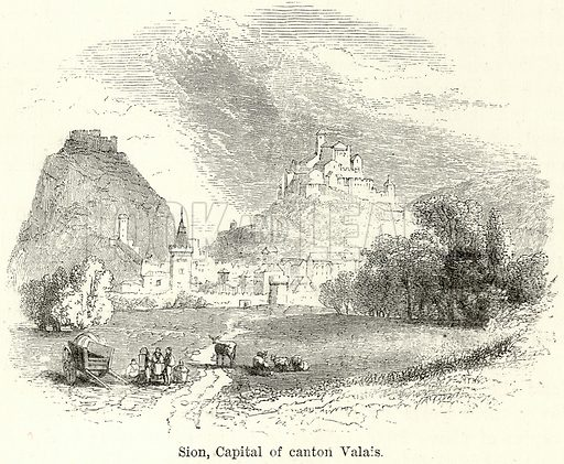 Sion, Capital of Canton Valais. Illustration for The World As It Is by George Chisholm (Blackie, 1885).