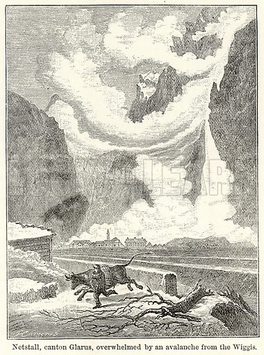 Netstall, Canton Glarus, overwhelmed by an Avalanche from the Wiggis. Illustration for The World As It Is by George Chisholm (Blackie, 1885).