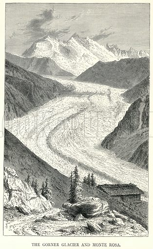 The Gorner Glacier and Monte Rosa. Illustration for The World As It Is by George Chisholm (Blackie, 1885).