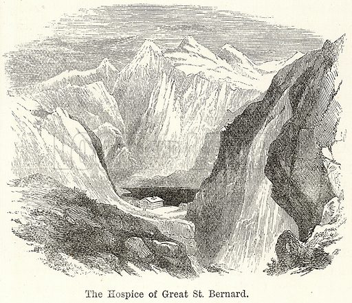 The Hospice of Great St Bernard. Illustration for The World As It Is by George Chisholm (Blackie, 1885).