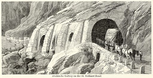 Avalanche Gallery on the St. Gothard Road. Illustration for The World As It Is by George Chisholm (Blackie, 1885).