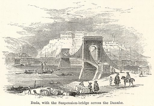 Buda, with the Suspension-Bridge across the Danube. Illustration for The World As It Is by George Chisholm (Blackie, 1885).