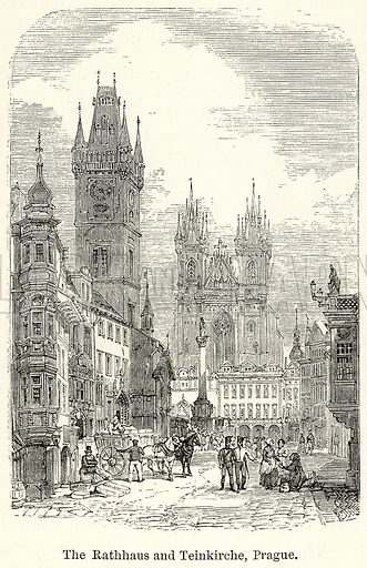 The Rathhaus and Teinkirche, Prague. Illustration for The World As It Is by George Chisholm (Blackie, 1885).