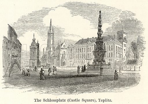 The Schlossplatz (Castle Square), Teplitz. Illustration for The World As It Is by George Chisholm (Blackie, 1885).