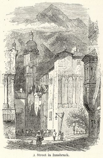 A Street in Innsbruck. Illustration for The World As It Is by George Chisholm (Blackie, 1885).
