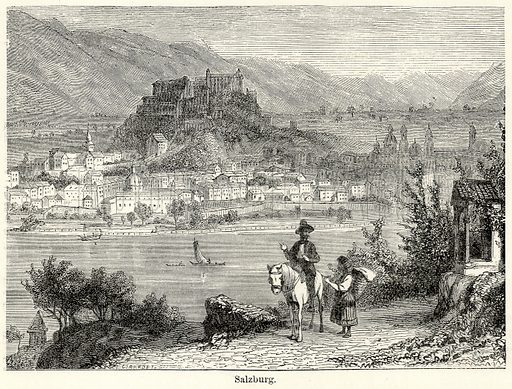 Salzburg. Illustration for The World As It Is by George Chisholm (Blackie, 1885).
