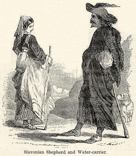 Slavonian Shepherd and Water-Carrier. Illustration for The World As It Is by George Chisholm (Blackie, 1885).