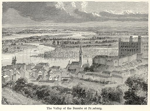 The Valley of the Danube at Pressburg. Illustration for The World As It Is by George Chisholm (Blackie, 1885).