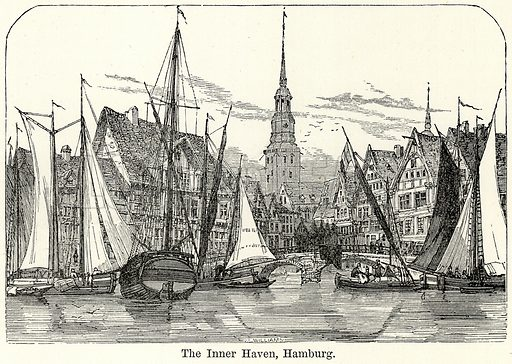 The Inner Haven, Hamburg. Illustration for The World As It Is by George Chisholm (Blackie, 1885).