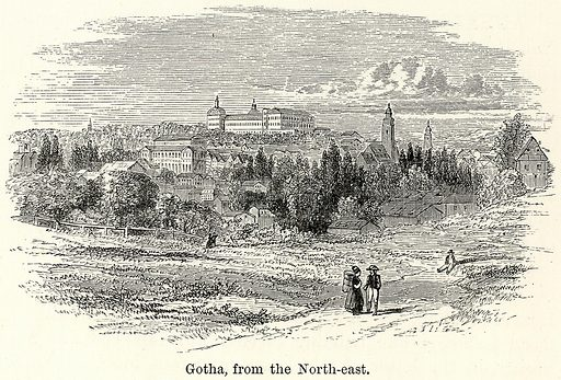 Gotha, from the North-East. Illustration for The World As It Is by George Chisholm (Blackie, 1885).