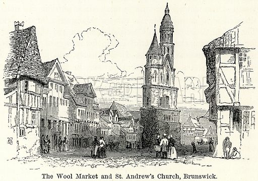 The Wool Market and St. Andrew's Church, Brunswick. Illustration for The World As It Is by George Chisholm (Blackie, 1885).