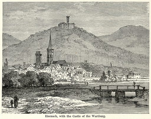 Eisenach, with the Castle of the Wartburg. Illustration for The World As It Is by George Chisholm (Blackie, 1885).