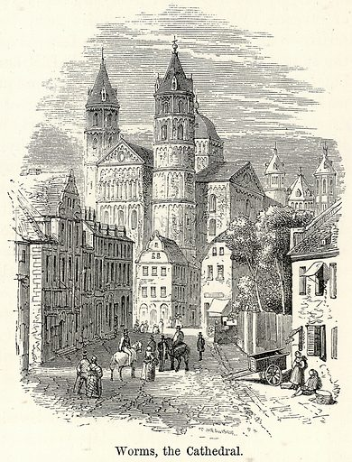 Worms, the Cathedral. Illustration for The World As It Is by George Chisholm (Blackie, 1885).