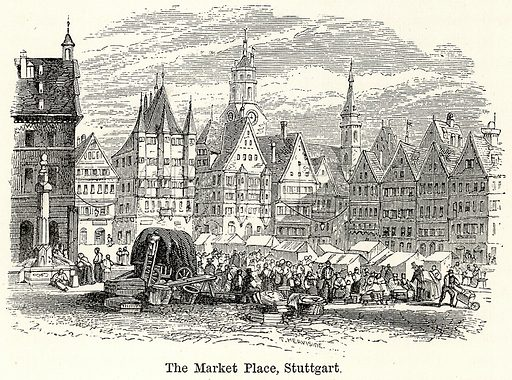 The Market Place, Stuttgart. Illustration for The World As It Is by George Chisholm (Blackie, 1885).