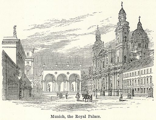 Munich, the Royal Palace. Illustration for The World As It Is by George Chisholm (Blackie, 1885).