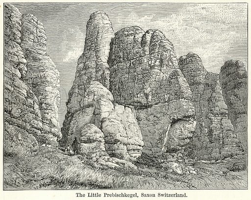 The Little Prebischkegel, Saxon Switzerland. Illustration for The World As It Is by George Chisholm (Blackie, 1885).