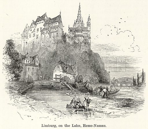 Limburg, on the Lahn, Hesse-Nassau. Illustration for The World As It Is by George Chisholm (Blackie, 1885).