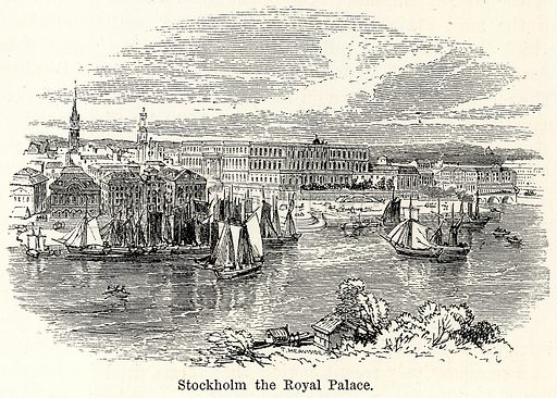 Stockholm the Royal Palace. Illustration for The World As It Is by George Chisholm (Blackie, 1885).