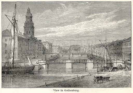 View in Gothenburg. Illustration for The World As It Is by George Chisholm (Blackie, 1885).
