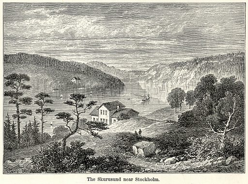 The Skurusund near Stockholm. Illustration for The World As It Is by George Chisholm (Blackie, 1885).