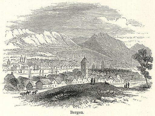 Bergen. Illustration for The World As It Is by George Chisholm (Blackie, 1885).