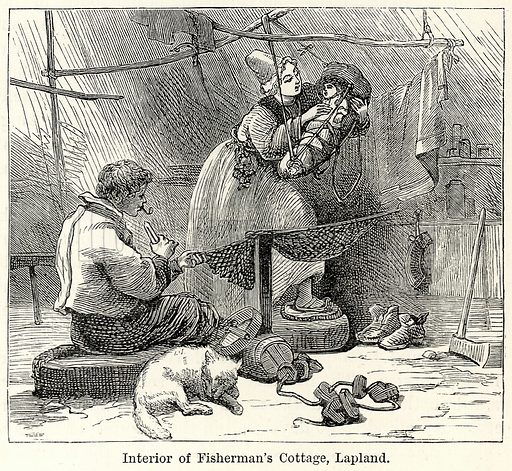 Interior of Fisherman's Cottage, Lapland. Illustration for The World As It Is by George Chisholm (Blackie, 1885).
