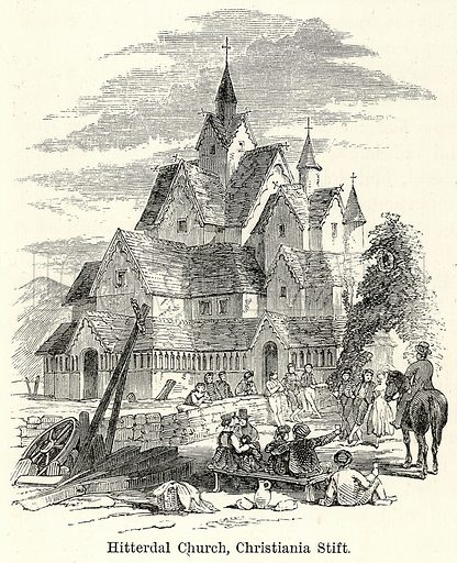 Hitterdal Church, Christiania Stift. Illustration for The World As It Is by George Chisholm (Blackie, 1885).