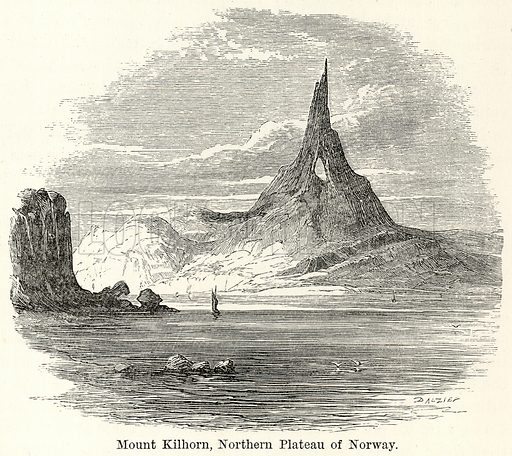 Mount Kilhorn, Northern Plateau of Norway. Illustration for The World As It Is by George Chisholm (Blackie, 1885).