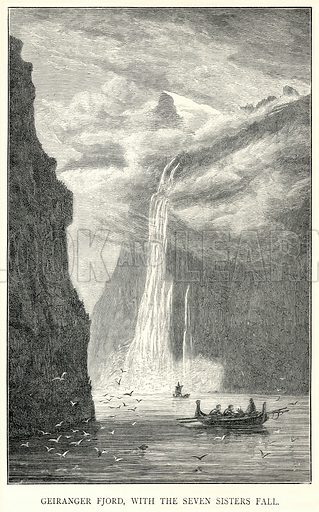 Geiranger Fjord, with the Seven Sisters Fall. Illustration for The World As It Is by George Chisholm (Blackie, 1885).