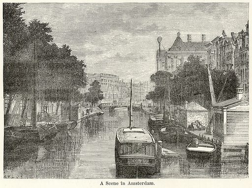 A Scene in Amsterdam. Illustration for The World As It Is by George Chisholm (Blackie, 1885).