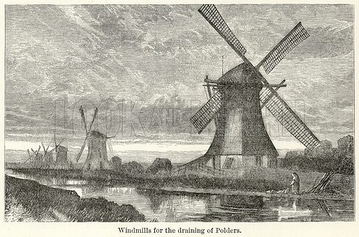 Windmills for the Draining of Polders. Illustration for The World As It Is by George Chisholm (Blackie, 1885).