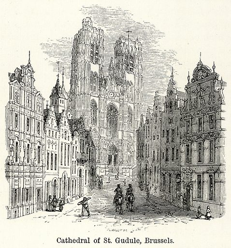 Cathedral of St Gudule, Brussels. Illustration for The World As It Is by George Chisholm (Blackie, 1885).