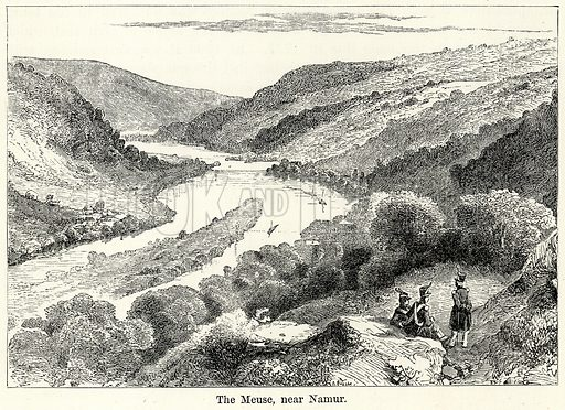 The Meuse, near Namur. Illustration for The World As It Is by George Chisholm (Blackie, 1885).