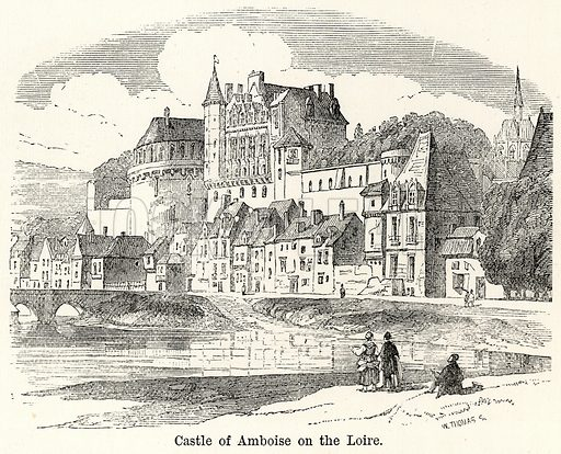 Castle of Amboise on the Loire. Illustration for The World As It Is by George Chisholm (Blackie, 1885).