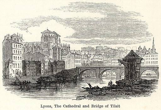 Lyons, the Cathedral and Bridge of Tilsit. Illustration for The World As It Is by George Chisholm (Blackie, 1885).