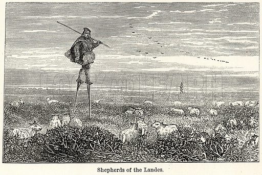 Shepherds of the Landes. Illustration for The World As It Is by George Chisholm (Blackie, 1885).