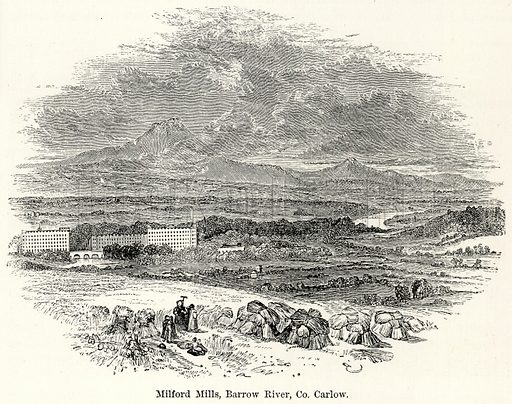 Milford Mills, Barrow River, Co. Carlow. Illustration for The World As It Is by George Chisholm (Blackie, 1885).