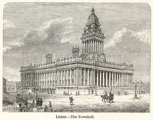 Leeds. – The Townhall. Illustration for The World As It Is by George Chisholm (Blackie, 1885).