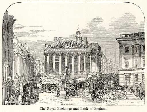 The Royal Exchange and Bank of England. Illustration for The World As It Is by George Chisholm (Blackie, 1885).