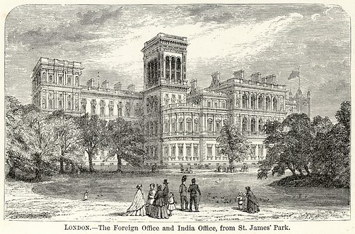 London.--The Foreign Office and India Office, from St. James' Park. Illustration for The World As It Is by George Chisholm (Blackie, 1885).