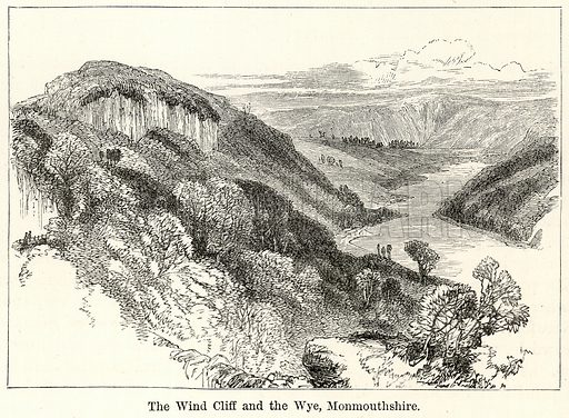 The Wind Cliff and the Wye, Monmouthshire. Illustration for The World As It Is by George Chisholm (Blackie, 1885).