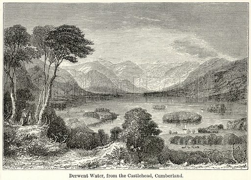Derwent Water, from the Castlehead, Cumberland. Illustration for The World As It Is by George Chisholm (Blackie, 1885).