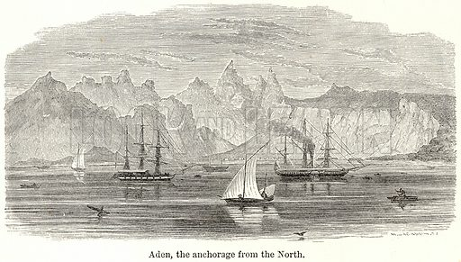 Aden, the Anchorage from the North. Illustration for The World As It Is by George Chisholm (Blackie, 1885).
