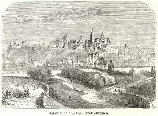 Salamanca and the River Zurguen. Illustration for The World As It Is by George Chisholm (Blackie, 1885).