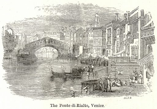 The Ponte di-Rialto, Venice. Illustration for The World As It Is by George Chisholm (Blackie, 1885).