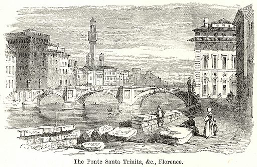 The Ponte Santa Trinita, &c Florence. Illustration for The World As It Is by George Chisholm (Blackie, 1885).