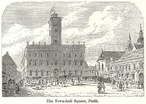 The Town-Hall Square, Pesth. Illustration for The World As It Is by George Chisholm (Blackie, 1885).