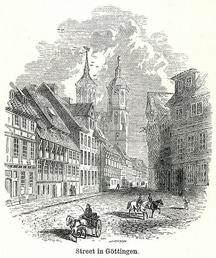 Street in Gottingen. Illustration for The World As It Is by George Chisholm (Blackie, 1885).