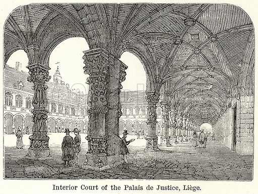 Interior Court of the Palais de Justice, Liege. Illustration for The World As It Is by George Chisholm (Blackie, 1885).
